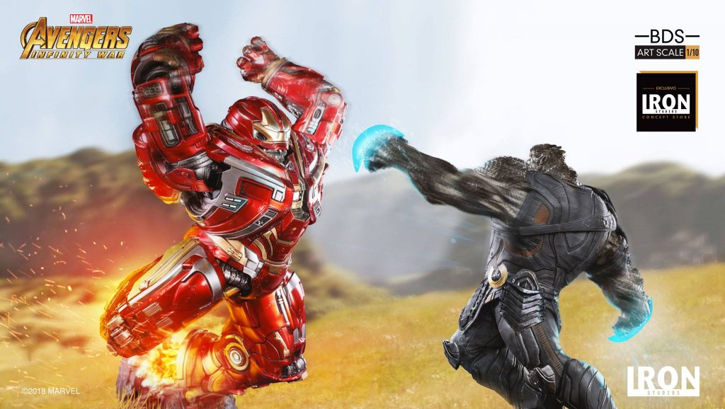Hulkbuster jumping off to fight Cull Obsidian in the new Iron Studios Avengers: Infinity War Statue